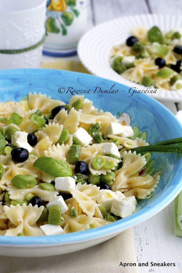 Apron and Sneakers - Cooking & Traveling in Italy and Beyond: Cold Pasta Salad With Asparagus, Feta, Blueberries & Basil
