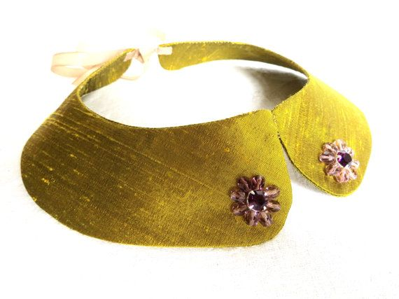 Golden green collar necklace silk collarette by LoveThirties