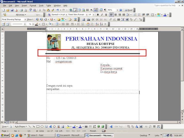 Tips Komputer CARA MENEBALKAN / VARIASI GARIS DI MS WORD 2003 | kursus komputer bogor,Tips Teknologi serta berita Internet komputer.