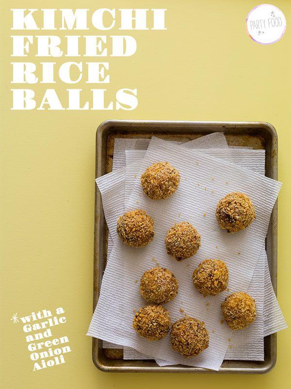 Kimchi Fried Rice Balls with a Garlic and Green Onion Aioli