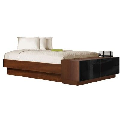 Queen Size Platform Bed with Storage Footboard