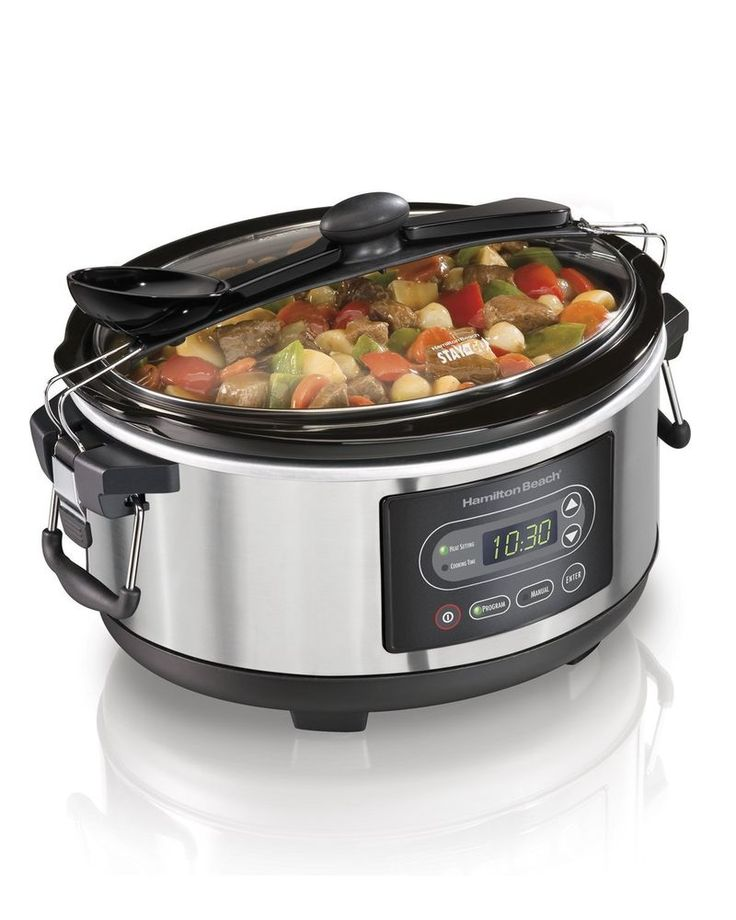 Gifts For Her Oval Slow Cooker Programmable 5 Quart Black Manual Crockpot   #HamiltonBeach