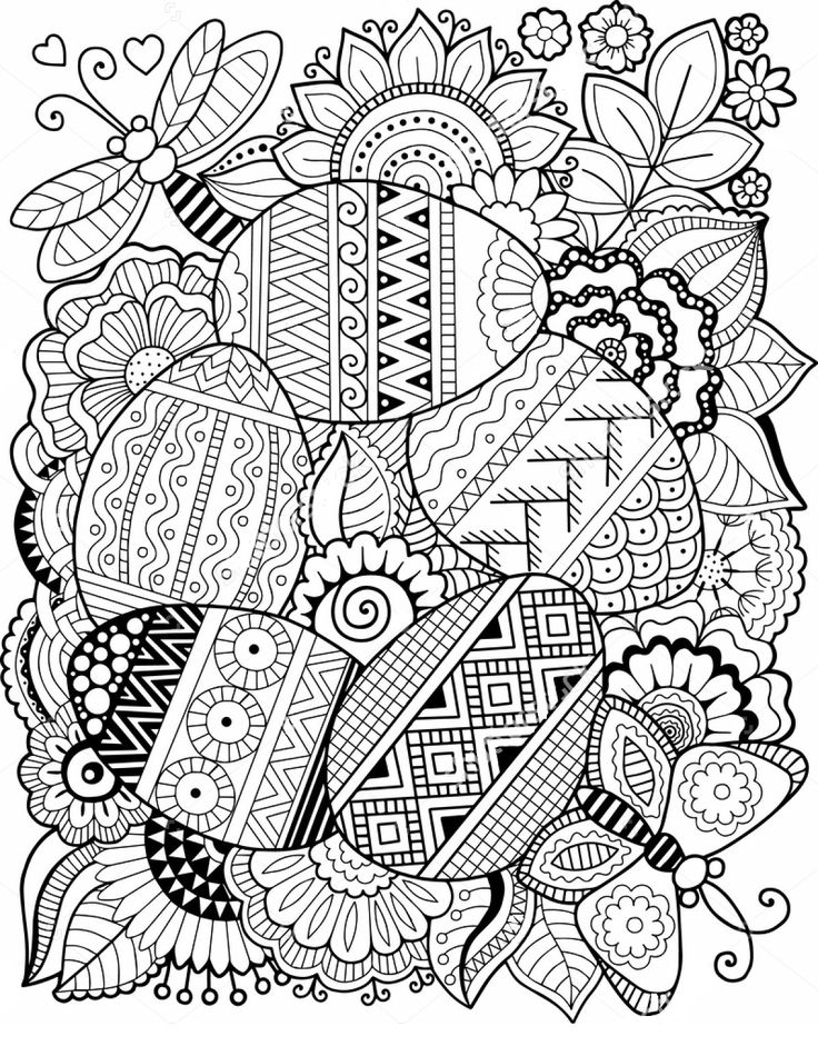 easter egg zentangle coloring page - Zentangle Coloring Book