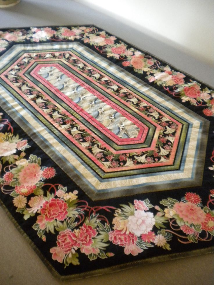 Quilted Table Runner, Asian Quilt, Floral Fabric, Floral Quilted Table  Topper, Asian