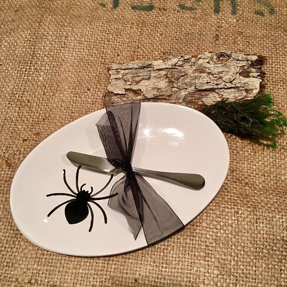 Black Spider Platter for Halloween