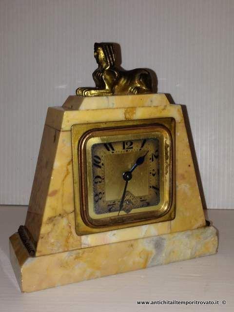 Oggettistica d`epoca - Orologi e portaorologi Antica sveglia in marmo giallo  - Antica sveglia dèco Bayard Immagine n°1