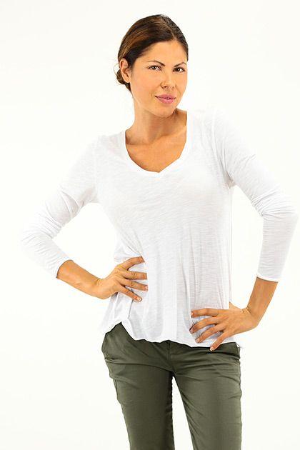 American Vintage - Maglie - Abbigliamento - Maglia in cotone con scollo a V e mancia lunga. - BLANC - € 50.00