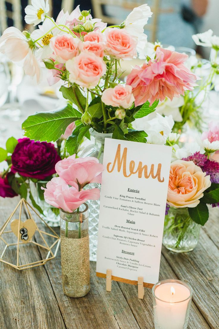 Pink and gold rustic boho wedding reception centrepiece | Curly Tree Photography | See more: http://theweddingplaybook.com/elegant-boho-wedding-by-the-beach/