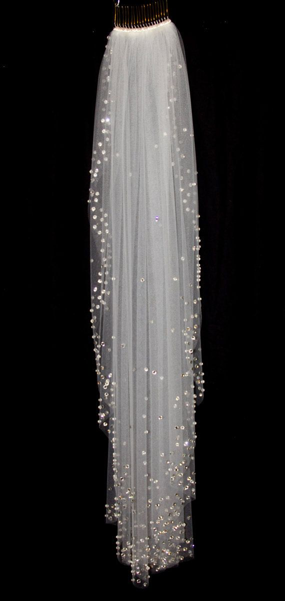Bridal Veil with Crystal Edge and from pureblooms on Etsy