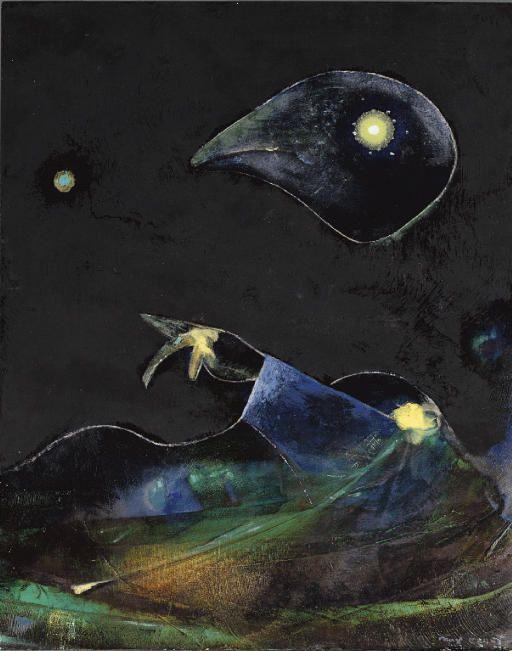 Max Ernst >> Nocturno  |  (oleo, obra de arte, reproducción, copia, pintura).