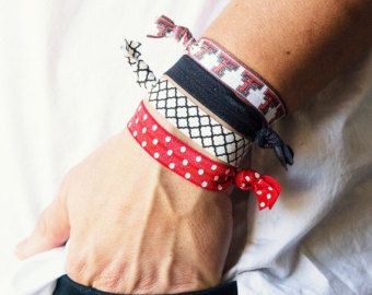 Texas Tech University Hair Ties, Texas Tech, Red Raiders, Black and Red, Game Day Hair Ties, Game Day, College Gifts, GameDay
