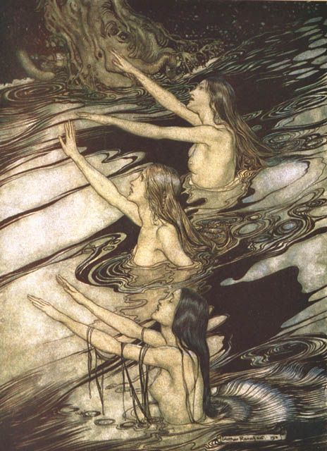 """The Rhinemaidens warn Siegfried. """"Siegfried and The Twilight of the Gods"""" (1911), illustrated by Arthur Rackham"""