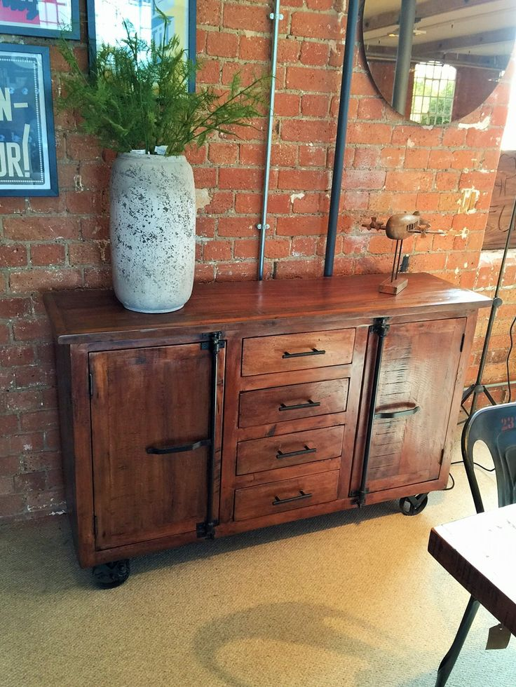 Hyatt - Canning Industrial Sideboard on Wheels. Perfect for the industrial style home!