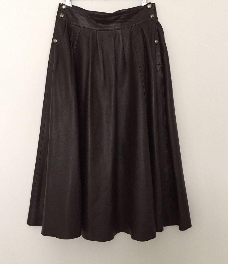 Leather skirt / vintage skirt / brown skirt / half circle skirt / high waisted skirt / long skirt / 80s skirt / made in France by LOFTOWN on Etsy