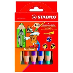 Stabilo Woody 3-in-1 Colouring Pencils Wax Crayons Watercolour