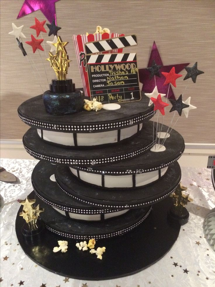 Hollywood themed 18th Birthday Cake! Complete with popcorn, stars and studs!