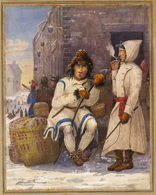 """""""Indian and French Canadian, Market Place, Quebec"""" by John Crawford Young (1825-1827) at the National Gallery of Canada, Ottawa - While this is a 19th century depiction, the French-Canadians and the First Nations peoples have been borrowing from each other culturally ever since the earliest French colonization in Canada.  It used to drive the French authorities and clergy nuts, seeing their colonists become far too """"wild"""" for their tastes."""