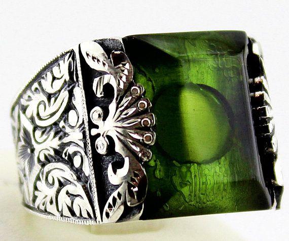 Argento Sterling 925 anello uomini, design con pietra naturel.Fuoco verde ambrato.