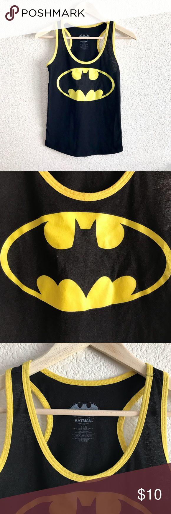 """Batman Razorback Tank Length from top to bottom: 23"""" Pit to pit: 16""""  Lightly worn. Not faded at all. Only flaw would probably be little cracks on the side of the Batman symbol.   50/50 Cotton, Polyester blend. Soft and stretchy. Batman Tops Tank Tops"""