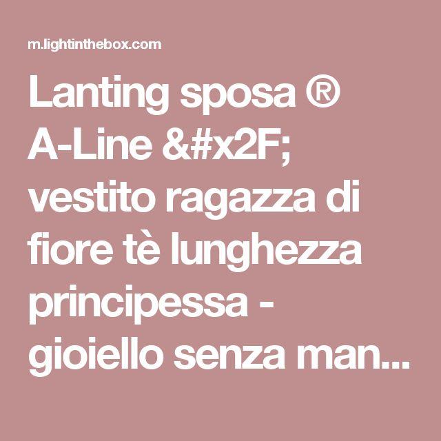 Lanting sposa ® A-Line / vestito ragazza di fiore tè lunghezza principessa - gioiello senza maniche in raso con fiocco (s) / ruche del 2017 a ₣58.31