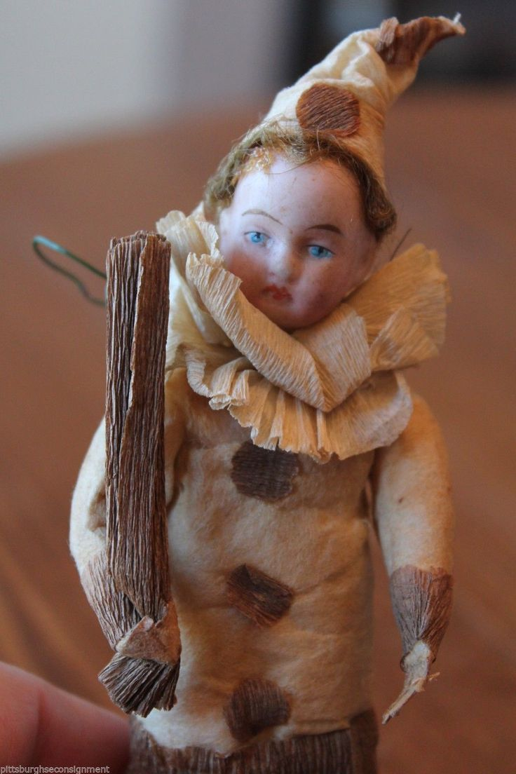Antique Christmas Ornament Spun Cotton Clown Boy Bisque Head Crepe Paper C 1900 | eBay