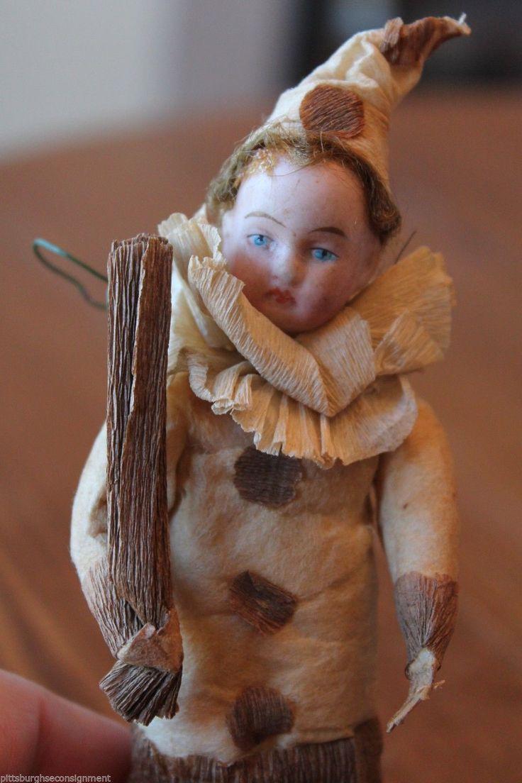 Antique Christmas Ornament Spun Cotton Clown Boy Bisque Head Crepe Paper C 1900   eBay