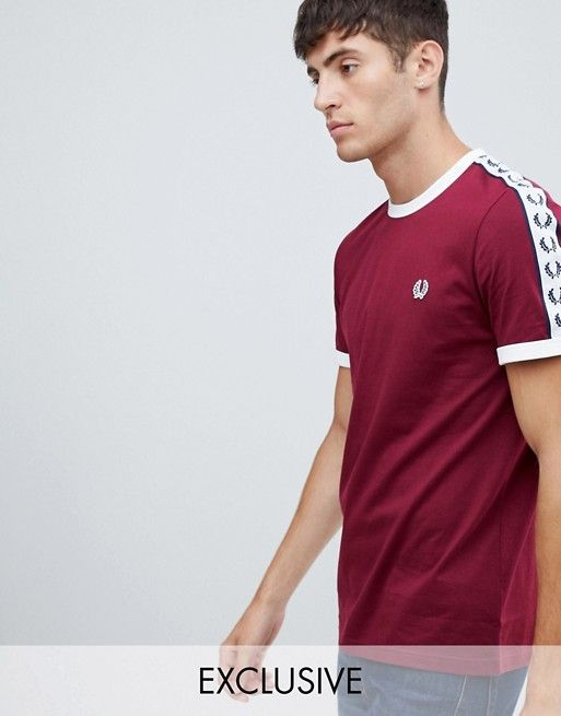 154d2d0ee Fred Perry Sports Authentic taped ringer t-shirt in burgundy ...