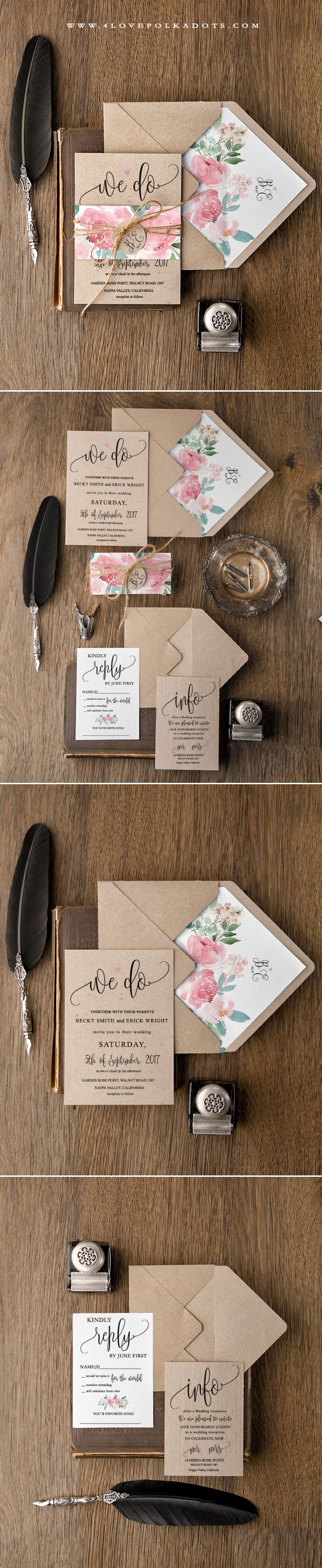 Romantic Floral Wedding Invitation - fully custmized #weddinginvitations