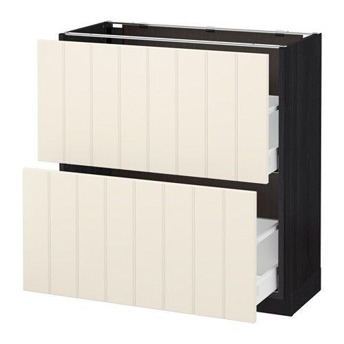 IKEA - METOD / MAXIMERA, Onderkast met 2 lades, 80x37 cm, Hittarp ecru, houteffect zwart, , Lades met ingebouwde demper zorgen dat de lades langzaam, stil en zacht sluiten.Door de volledig uittrekbare lades is de inhoud overzichtelijk en makkelijk bereikbaar.Soepel lopende lades met blokkeerstuk.De lade sluit de laatste centimeters vanzelf.Stevige constructie basiselement: 18 mm dik