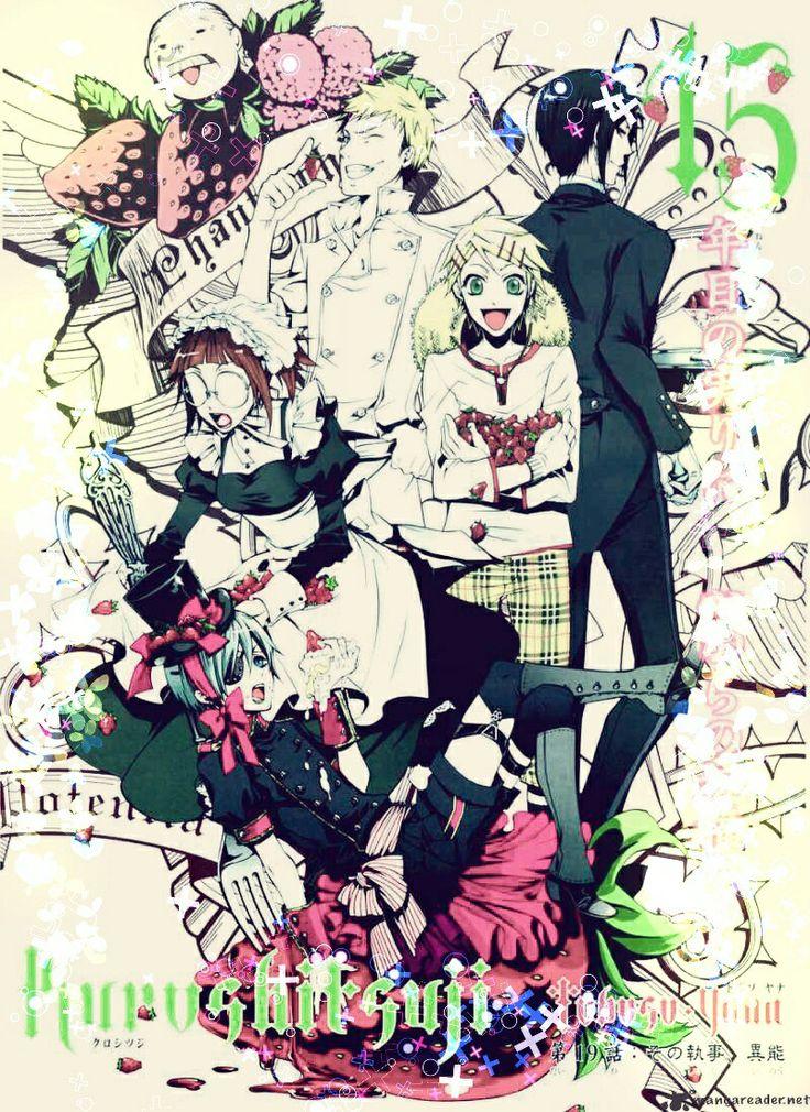 Black butler# kuroshitsuji# original image by yana taboso# kawaii# Ciel# Sebastian# mayrin# finnian# bardroy# tanaka# manga# my edit