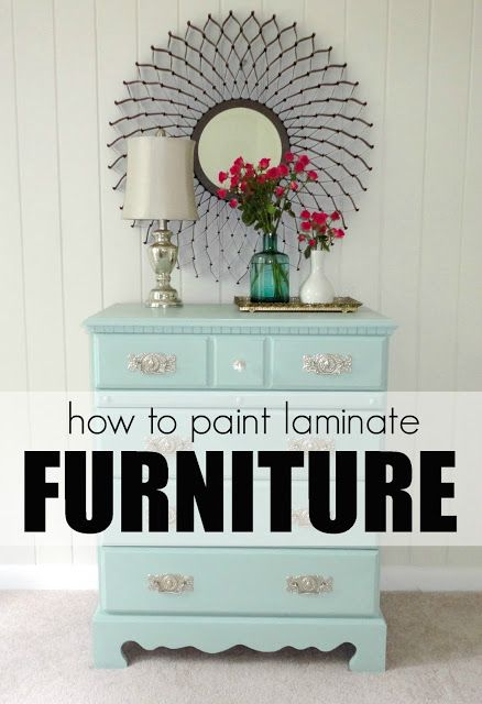How to paint laminate furniture in 3 easy steps! And a great source for gorgeous hardware at affordable prices!