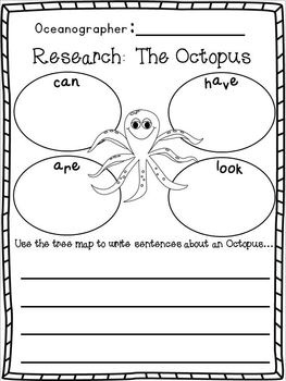 """Ocean """"Research"""" w/ Ocean Animals """"Research"""" Writing w/ Literacy and Math activities for centers!  Freebie in the Download Preview :o)"""