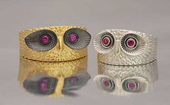 Big Sterling Silver 925 Gold Owl 3D Owl Ring - Gold Plated Bird Silver Ring Wrap Animal Gift Ladies Wise Owl, Greek Owl Shape Ring