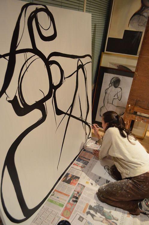 carmeljenkin-art:  at work in my studio
