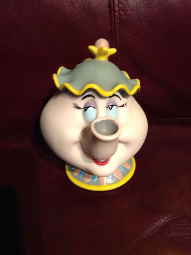 Disney Hard Plastic Bank w/ Stopper- Mrs. Potts Teapot from Beauty and the Beast