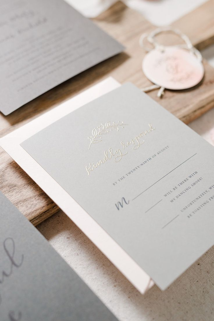 Custom blush and grey, romantic and whimsical garden wedding invitation suite / calligraphy and hand lettering, gold thermography by Paper & Honey®️️️️ / www.paperandhoney.com / heirloom quality wedding stationery suites serving Detroit, Ann Arbor, Grand Rapids Michigan and worldwide (photo by Andrea Pesce Photography)