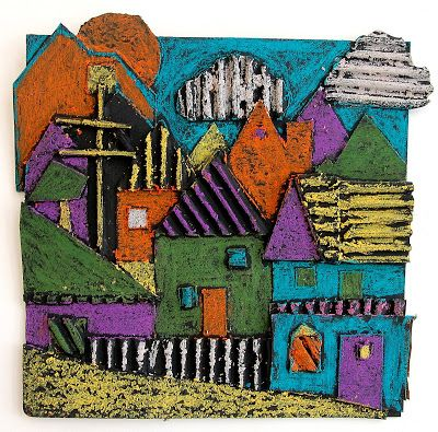 The New Hope Art Gallery: Middle School Art: Mixed Media Cityscapes  Textured collage, painted black - oil pastel