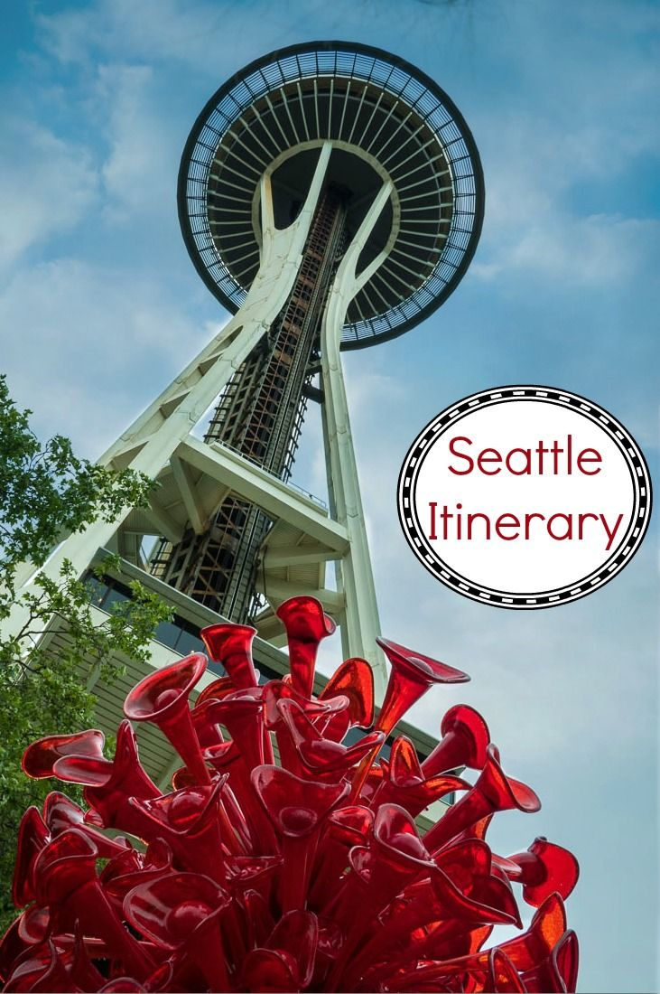 A complete weekend itinerary to visit Seattle Washington in the Northwest USA. Photo includes the Space Needle and Chihuly Garden and Glass.
