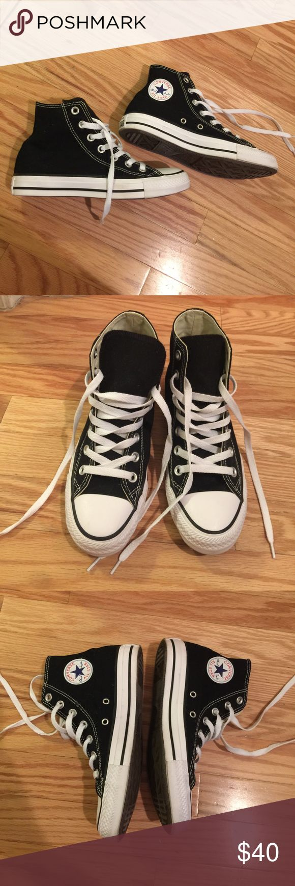 Black and white high top Converse Classic Black and white high top Converse Classics women's size 6 worn once inside good as new Converse Shoes Sneakers