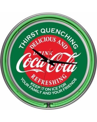 Trademark Global Clocks 14 in. Coca-Cola Red and Green Neon Wall Clock Multi coke-1400-v15
