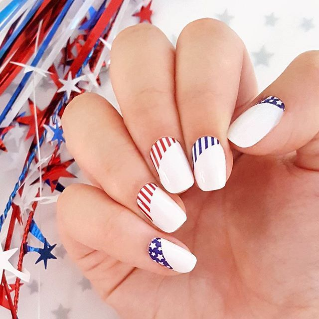 """""""Freedom Trail"""" from the American Dream collection features patriotic swoops of stars and stripes! ❤ #incoco #nailart #madeinamerica #patrioticnails #redwhitebluenails #usanails"""