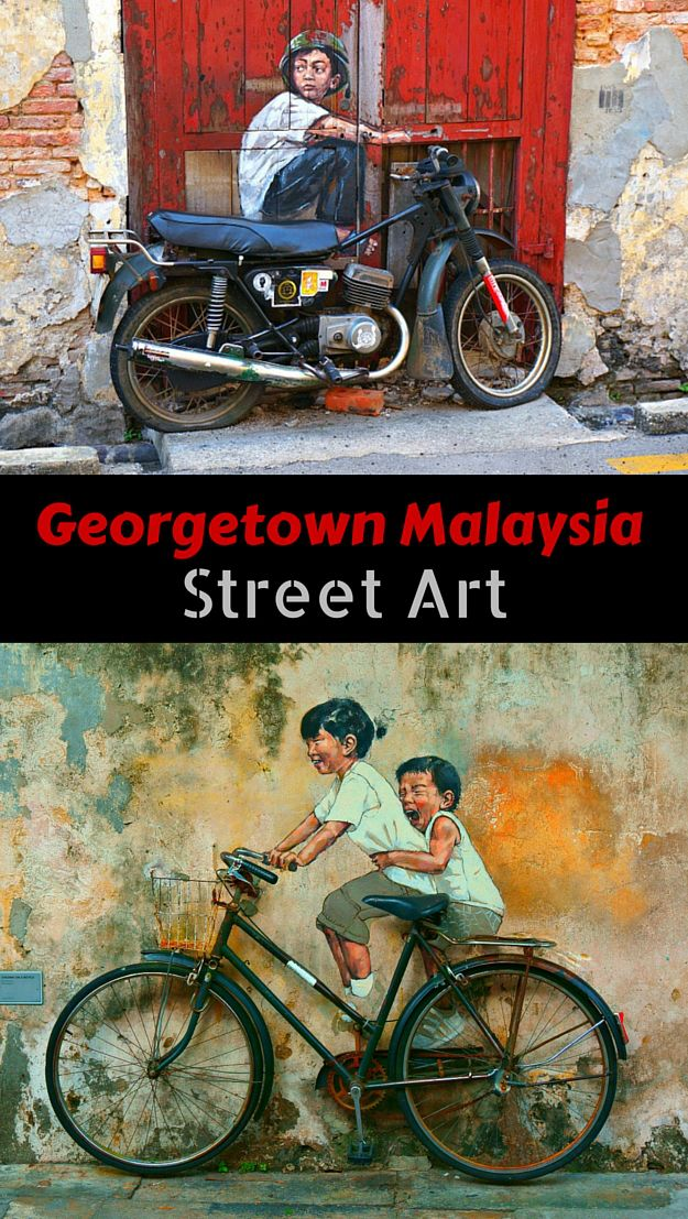 Whimsical and interactive street art in Georgetown Malaysia on the Island of Penang. Artist Ernest Zacharevic created murals depicting everyday life in Malaysia incorporating objects that invite viewer to participate in the scene. Maybe you can go home with your most epic selfie ever? Click to find out more @venturists