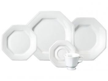 Aparelho de Jantar 30 Peças Schmidt Porcelana - Octogonal Branco Prisma