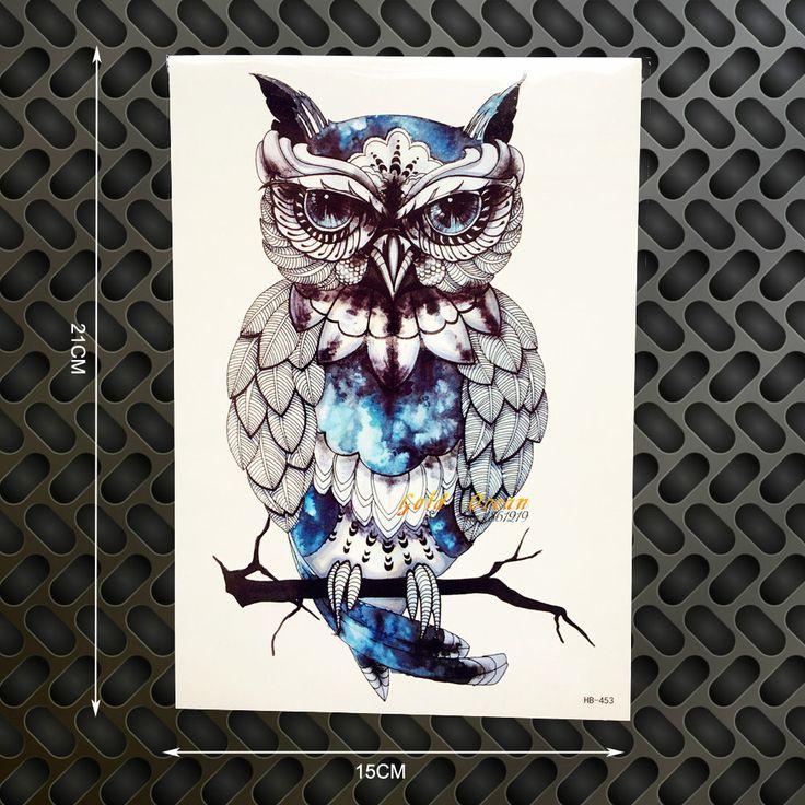 1 PZ Snowy Owl Hedwig Design Large Manica Del Braccio Del Tatuaggio Flash Autoadesivo Provvisorio Del Tatuaggio 21x15 cm Impermeabile Hennè Tatoo Donne Body Art