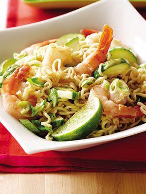 9 Unique Ramen Noodle Recipes.  1. Peanut Ramen Noodle Salad  2. Asian Noodles with Shrimp  3. Coconut Curry Shrimp  4. Asian Meatball Soup  5. Vegetable Primavera  6. Asian Shrimp and Noodle Soup  7. Skillet Noodle Pizza  8. Ricotta Frittata  9. Warm Chicken and Cabbage Salad