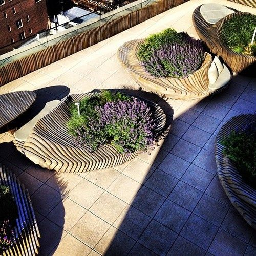 Raised beds/benches on roof terrace