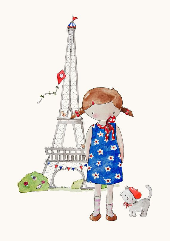 Sweet little watercolors of a girl named Poppy and her dog Scout. Would be cute for daughter's room. Poppy in Paris - from Etsy shop PoppyandScout. $17
