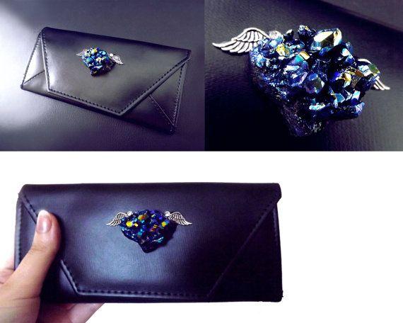 Crystal wallet ladies clutch purse vegan by CindersJewelryDesign