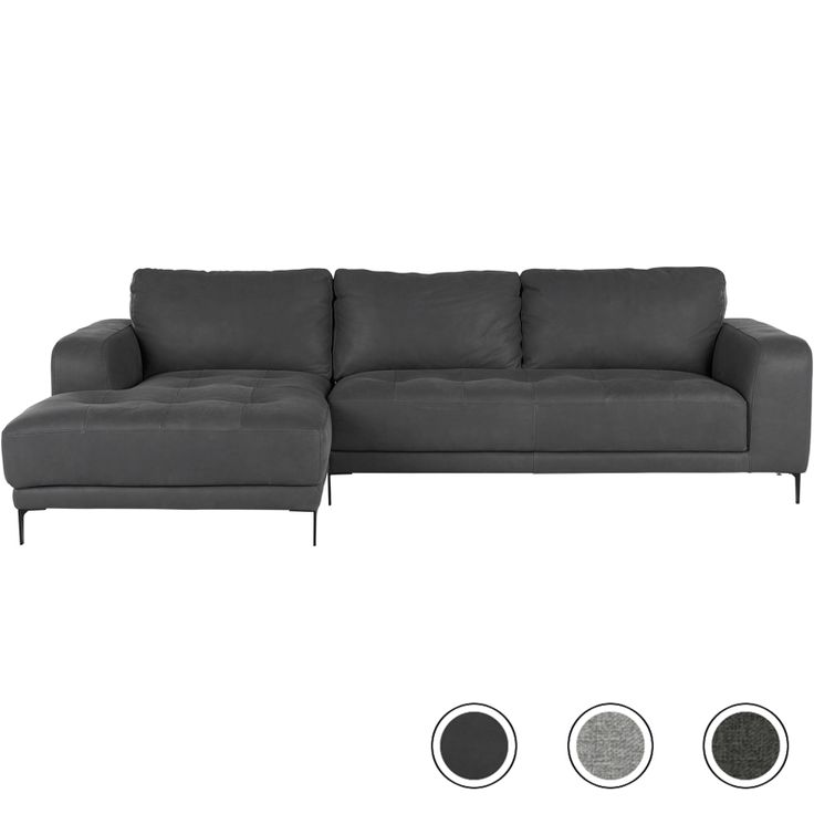 Luciano Left Corner Sofa, Grey Leather from Made.com. NEW Luciano is a striking contrast of textures and shapes. It has chunky arms, deep, dimpled s..