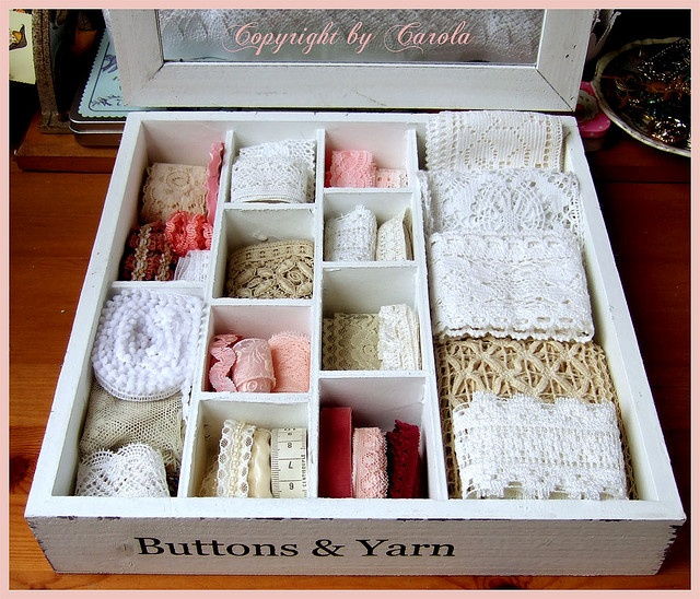 Organizing lace and ribbons - great for drawers from the habitat's re-store. RePinned by the Westside Habitat ReStore in Madison WI. www.restoredane.org  Find a ReStore near you at http://www.habitat.org/restores